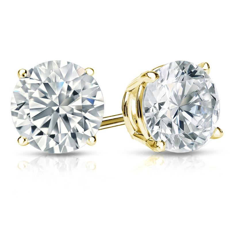 Certified 14k Yellow Gold 4-Prong Basket Round Diamond Stud Earrings 2.00 ct. tw. (E-F, I1-I2)