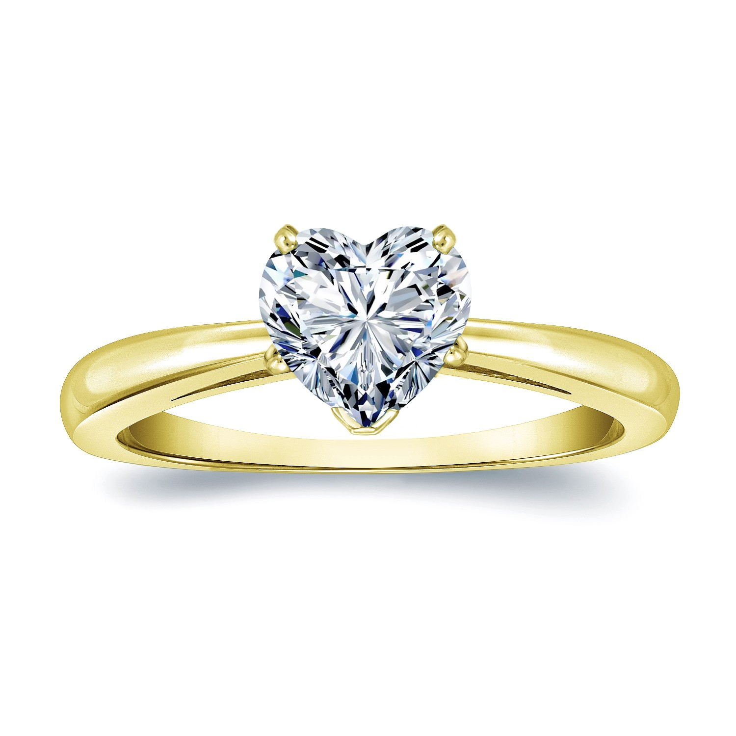 Certified 14k Yellow Gold Heart Shape Diamond Solitaire Ring 0.50 ct. tw. (H-I, SI1-SI2)