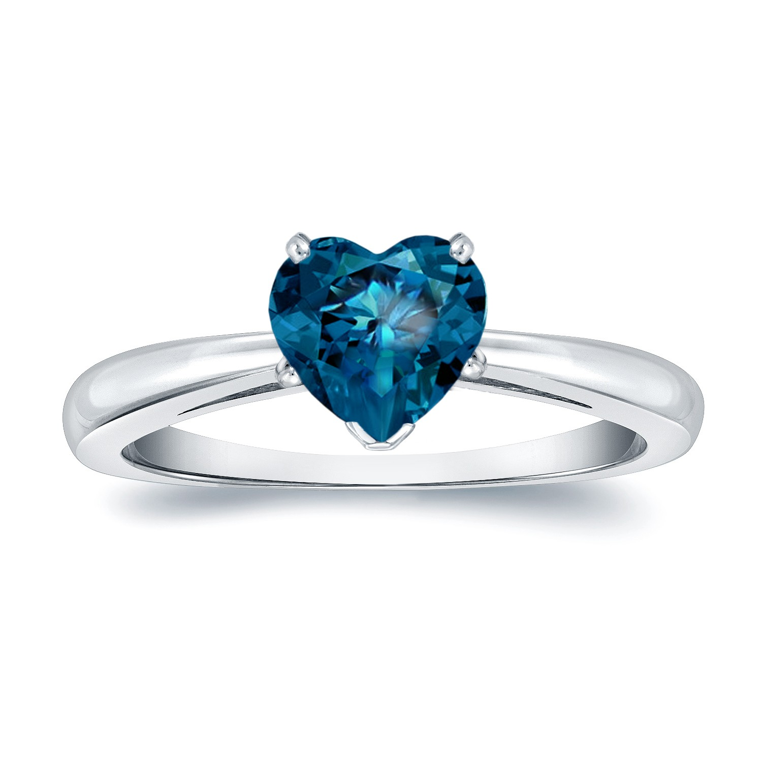 Certified 14k Rose Gold Heart Shape Blue Diamond Solitaire Ring 1.00 ct. tw. (Blue, SI1-SI2)