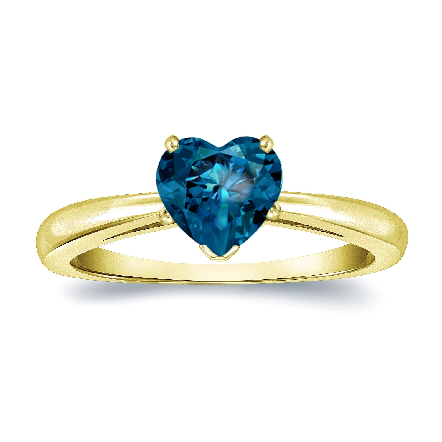 Certified 14k Yellow Gold Heart Shape Blue Diamond Solitaire Ring 1.00 ct. tw. (Blue, SI1-SI2)