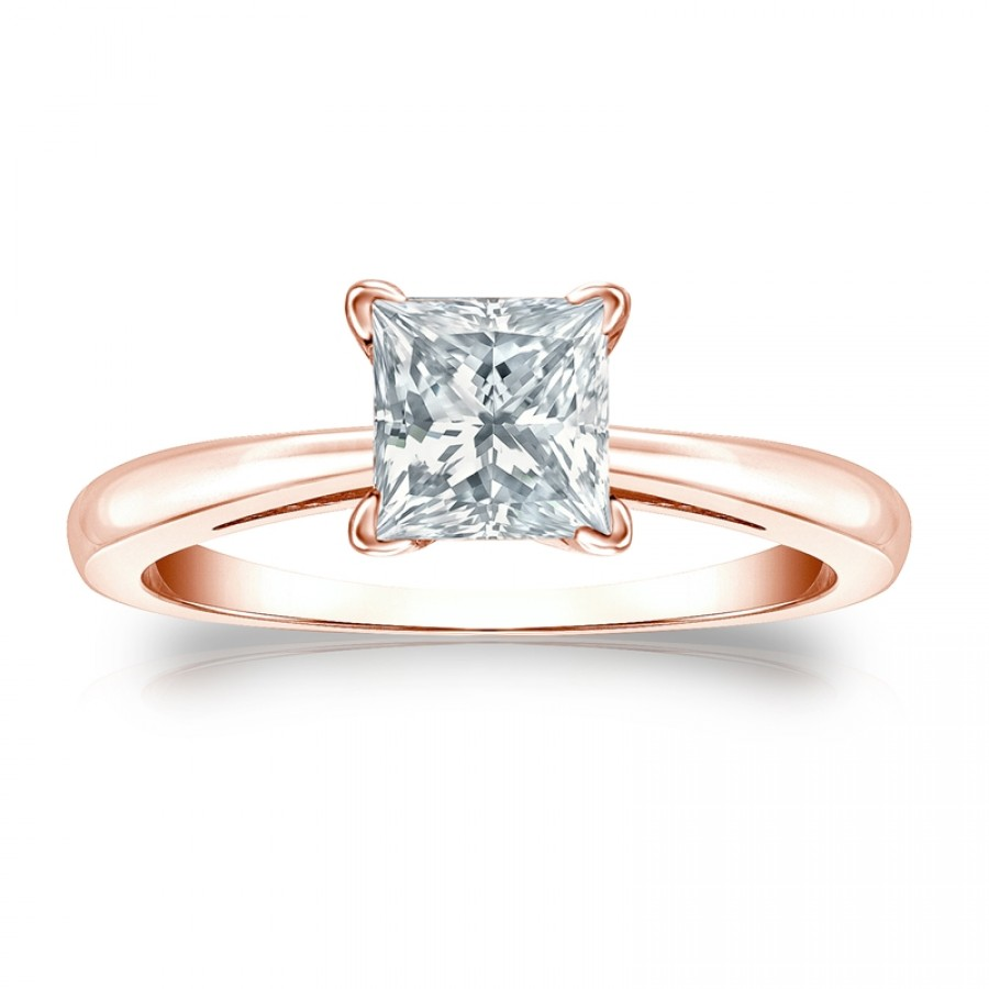 Certified 14k Rose Gold 4-Prong Princess Diamond Solitaire Ring 1.00 ct. tw. (H-I, I2-I3)