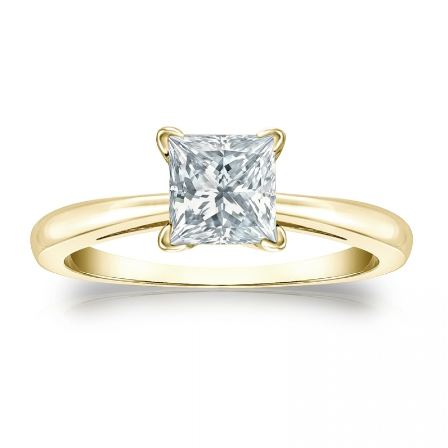 Certified 14k Yellow Gold 4-Prong Princess Diamond Solitaire Ring 1.00 ct. tw. (H-I, I2-I3)