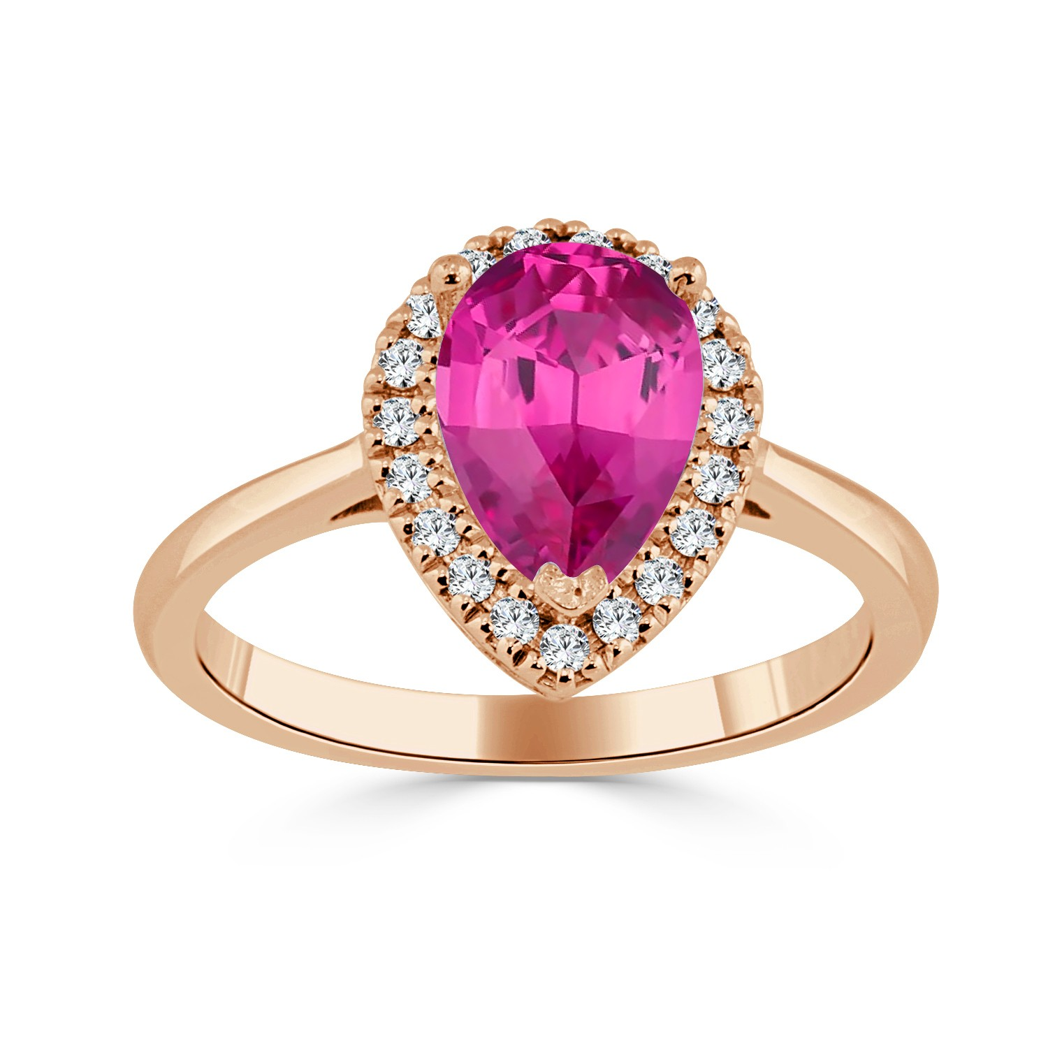 Certified 14k Rose Gold Pear Shape Pink Sapphire Halo Ring 1 1/6 ct. tw. (Pink, AAA)