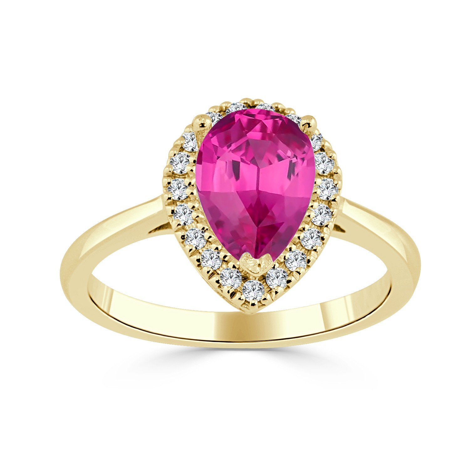 Certified 14k Yellow Gold Pear Shape Pink Sapphire Halo Ring 1 1/6 ct. tw. (Pink, AAA)