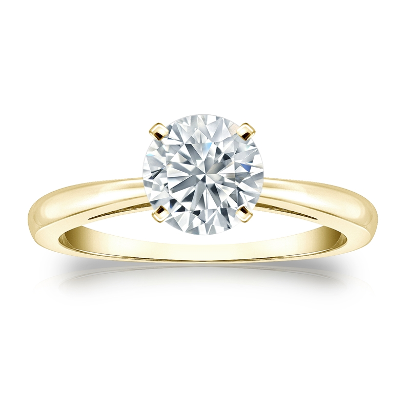 Certified 14k Yellow Gold 4-Prong Round Diamond Solitaire Ring 1.00 ct. tw. (H-I, I2-I3)
