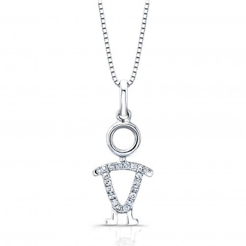 Certified 14K White Gold  Diamond Accent Girl Pendant Necklace 0.07 ct.tw. (H-I,I2-I3)