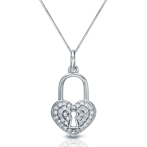 Certified 14K White Gold  Diamond Heart Lock Pendant Necklace 0.40 ct.tw. (H-I,I2-I3)