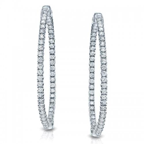 Certified 14K White Gold Round Diamond Hoop Earrings 1.00 ct. tw. (H-I, I1-I2)
