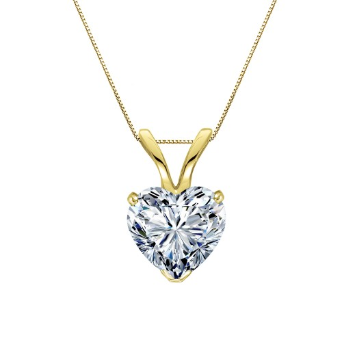Certified 14k Yellow Gold Heart Shape Diamond Solitaire Pendant 0.75 ct. tw. (H-I, SI1-SI2)