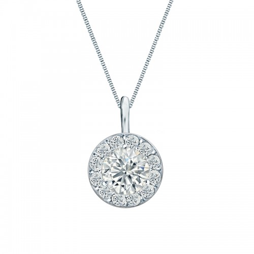 14k White Gold Certified Round-Cut Diamond Halo Pendant 1.00 ct. tw. (H-I, SI2-SI3)