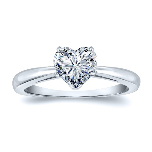 Certified 14k White Gold Heart Shape Diamond Solitaire Ring 0.50 ct. tw. (H-I, SI1-SI2)