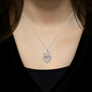 Certified 14K White Gold Double Heart Diamond Pendant Neckalce 0.50 ct.tw. (H-I,I2-I3)
