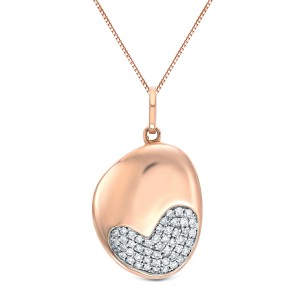 Certified 14K Rose Gold  Diamond Heart Pendant Necklace 0.20 ct.tw. (H-I,I2-I3)