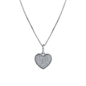 Certified 14K White Gold  Diamond Heart Pendant Necklace 0.15 ct.tw. (H-I,I2-I3)