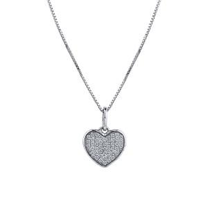 Certified 14K White Gold  Diamond Heart Pendant Necklace 0.15 ct.tw. (H-I,I2-I3)