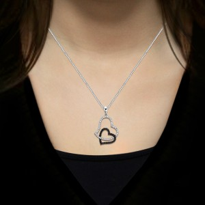 Certified 14K White Gold  Black and White Diamond Double Heart Pendant Necklace 0.30 ct.tw.