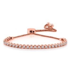 Certified 14k Rose Gold 4-Prong Round Diamond Adjustable Link Bracelet 1.00 ct. tw. (H-I, I1-I2)