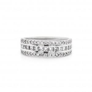 Princess and Round Cut Diamond Ring in 14k White Gold 1.00 ct. tw. (E-F, VS1-VS2)
