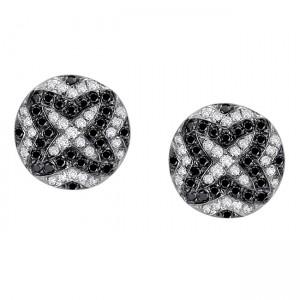 Certified 14k White Gold Black and White Diamond Earrings (1/3 cttw)