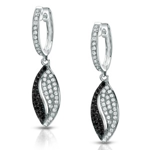 Certified 14k White Gold Black and White Diamond Dangle Earrings (1/2 cttw)