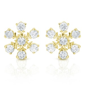 Certified 10k Yellow Gold Snow Flake Round Diamond Earrings (1/3 cttw)
