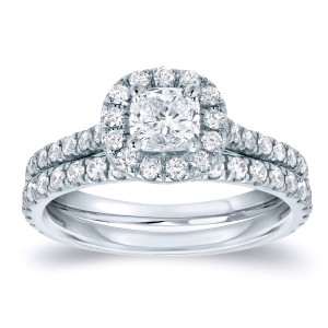 Cushion-Cut Diamond Wedding Ring Set in 14k White Gold 1.00 ct. tw. (G-H, SI1-SI2)