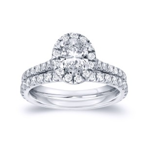 Oval-Cut Diamond Wedding Ring Set in 14k White Gold 1.00 ct. tw. (G-H, SI1-SI2)