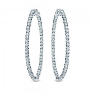 Certified 14K White Gold Round Diamond Hoop Earrings 1.00 ct. tw. (F-G, I1-I2)