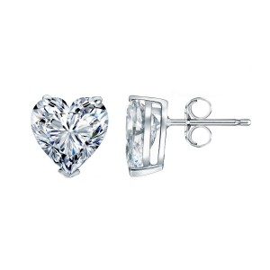 Certified 14k White Gold Heart Diamond Stud Earrings 1.25 ct. tw. (G-H, SI1-SI2)