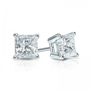 Certified 14k White Gold 4-Prong Basket Princess-Cut Diamond Stud Earrings 0.75 ct. tw. (I-J, VS1-VS2)