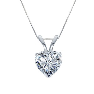 Certified 14k White Gold Heart Shape Diamond Solitaire Pendant 0.75 ct. tw. (H-I, SI1-SI2)