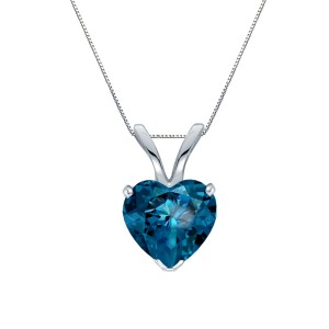 Certified 14k White Gold Heart Shape Blue Diamond Solitaire Pendant 1.00 ct. tw. (Blue, SI1-SI2)