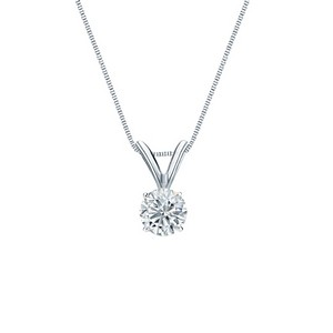 Certified 14k White Gold 4-Prong Basket Round-Cut Diamond Solitaire Pendant 0.30 ct. tw. (H-I, I2-I3)