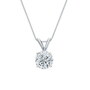 Certified Round-Cut Lab Grown Diamond Solitaire Pendant in 14k White Gold 4-Prong Basket 0.75 ct. tw. (I-J, SI1-SI2)