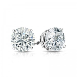 Certified 14k White Gold 4-Prong Basket Round Diamond Stud Earrings 1.00 ct. tw. (H-I, I2-I3)