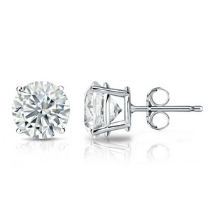Certified Round Lab Grown Diamond Studs Earrings in 14k White Gold 4-Prong Basket 1.80 ct. tw. (I-J, SI1-SI2)