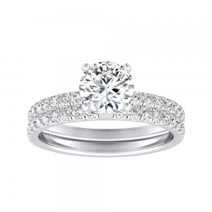 IGI Certified Round Lab Grown Diamond Wedding Ring Set in 14k White Gold 4-Prong 1.50 ct. tw. (H-I, SI1-SI2)
