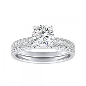 IGI Certified Round Lab Grown Diamond Wedding Ring Set in 14k White Gold 4-Prong 1.50 ct. tw. (H-I, SI1-SI2)