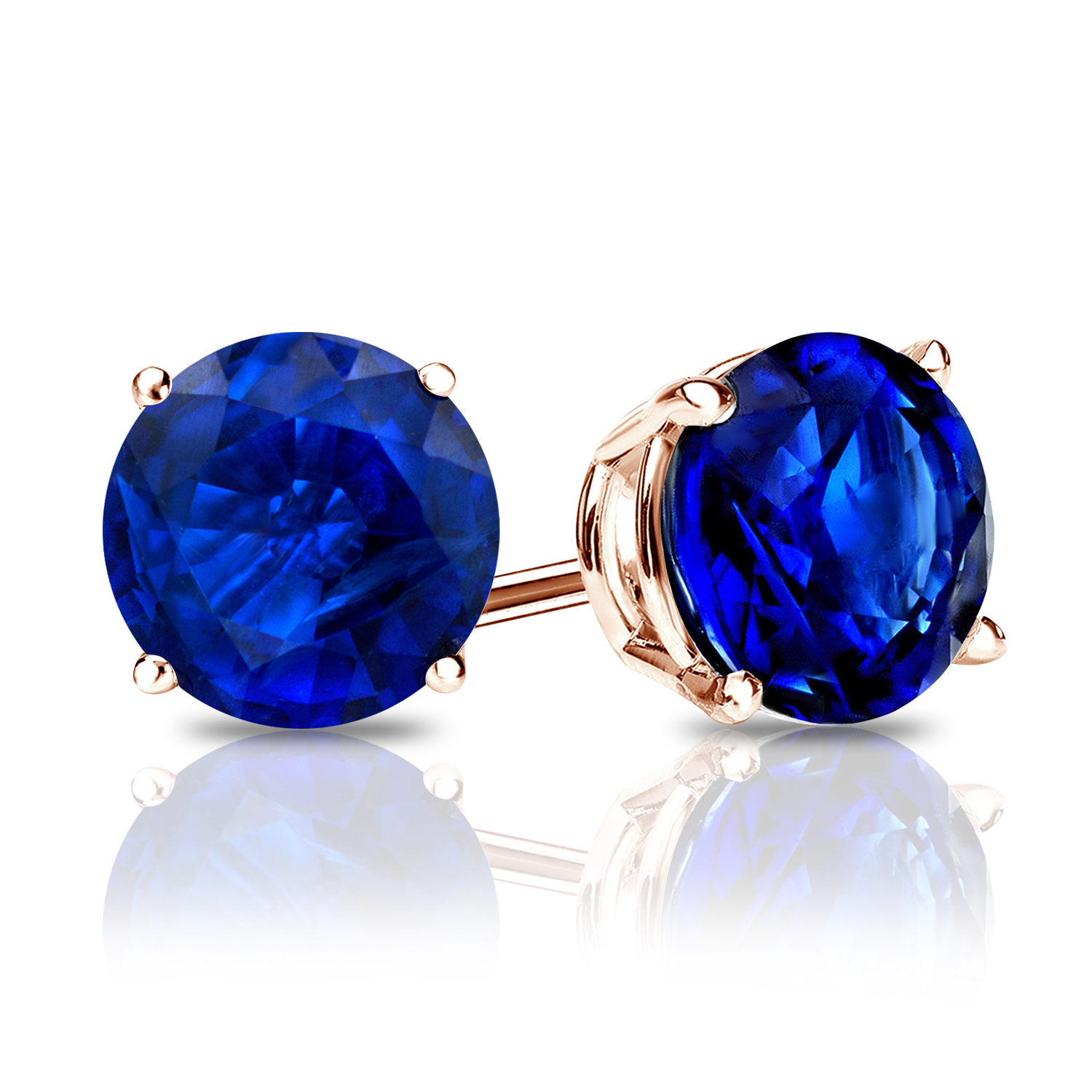 Certified 0.33 cttw Round Blue Sapphire Gemstone Stud Earrings in 14k Rose Gold 4-Prong Basket (Blue, AAA)