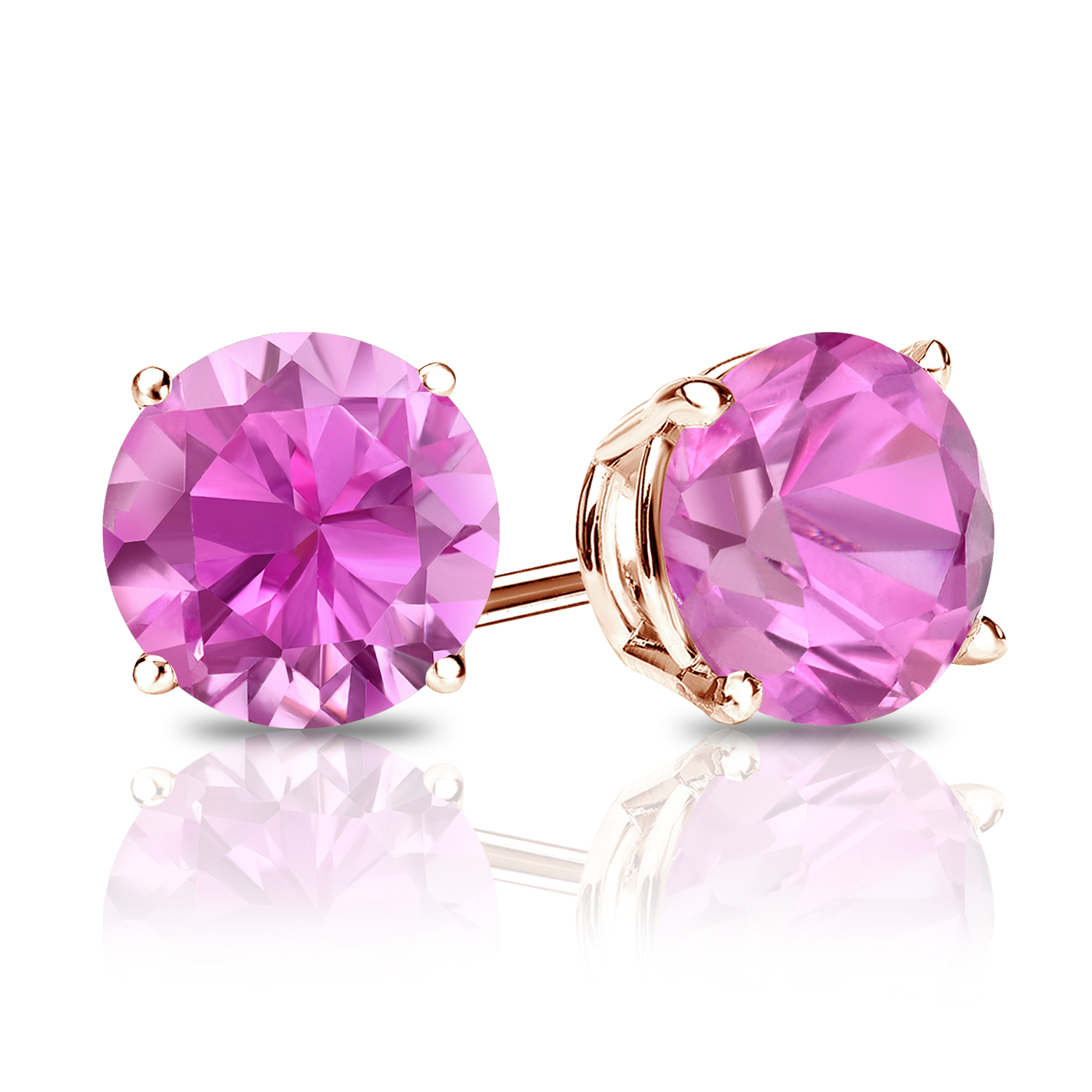 Certified 0.25 cttw Round Pink Sapphire Gemstone Stud Earrings in 14k Rose Gold 4-Prong Basket (Pink, AAA)