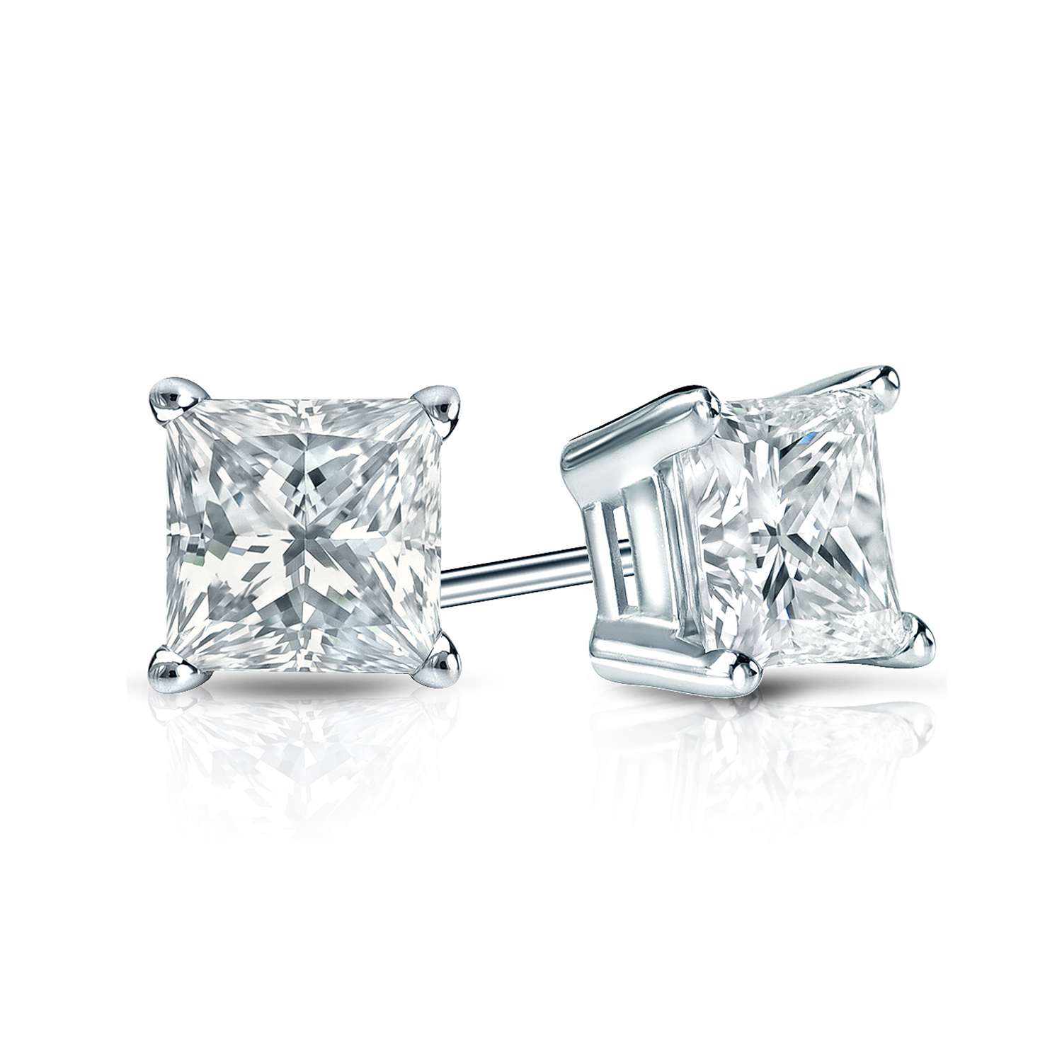 Certified 1.50 cttw Princess Diamond Stud Earrings in 14k White Gold 4-Prong Basket (G-H, SI)