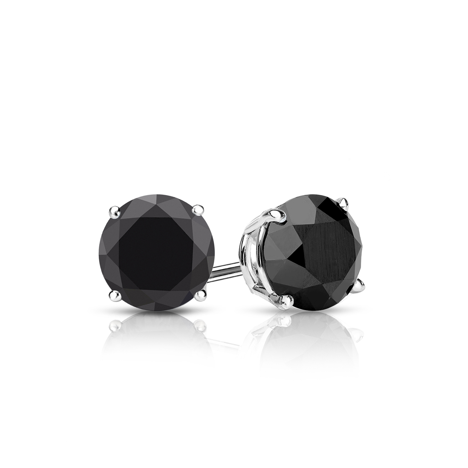 Certified 0.50 cttw Round Black Diamond Stud Earrings in 14k White Gold 4-Prong Basket (AAA)