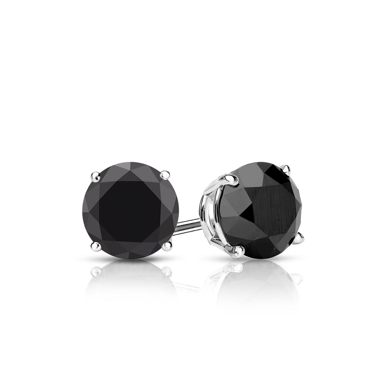 Certified 1.00 cttw Round Black Diamond Stud Earrings in 14k White Gold 4-Prong Basket (AAA)