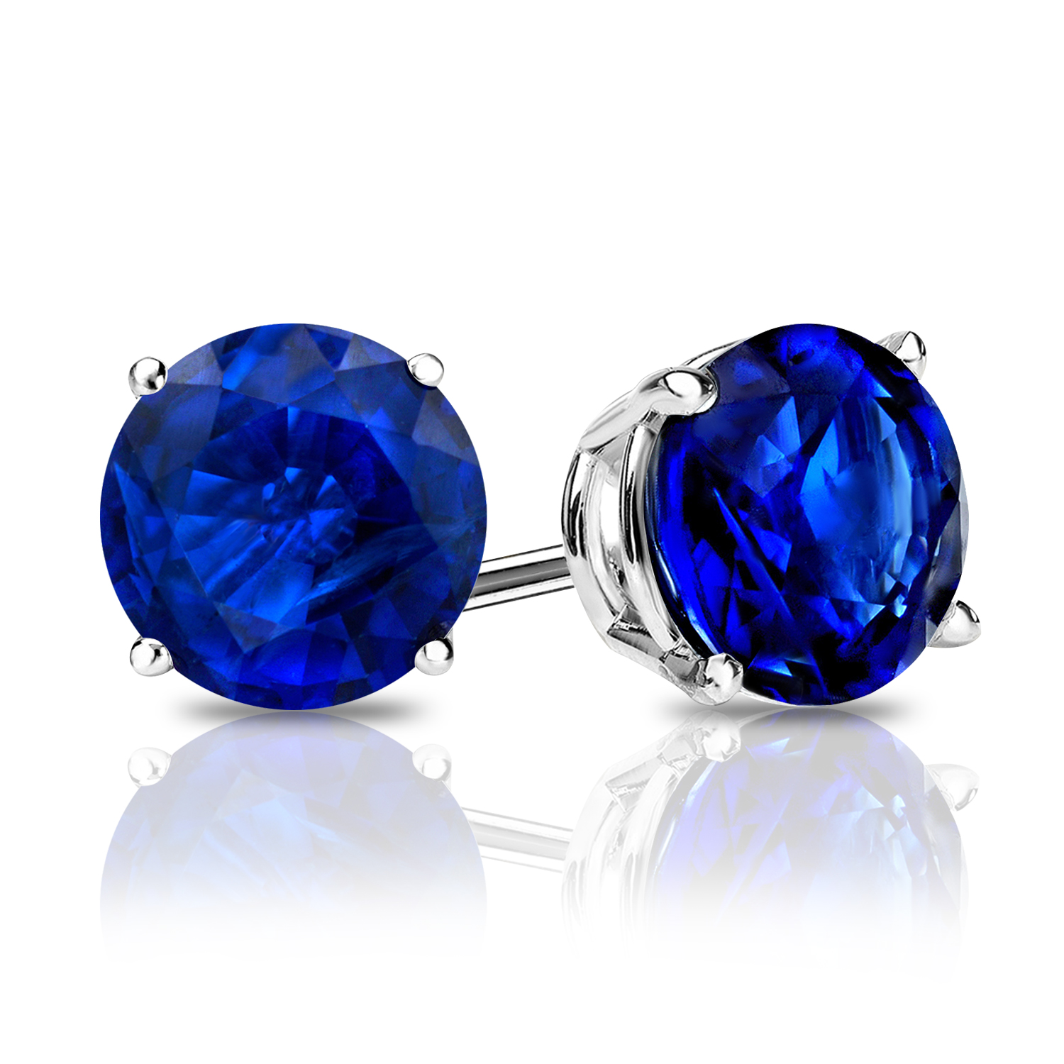 Certified 0.50 cttw Round Blue Sapphire Gemstone Stud Earrings in 14k White Gold 4-Prong Basket (Blue, AAA)
