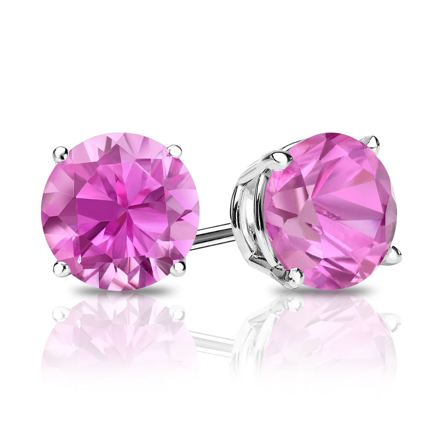 Certified 0.25 cttw Round Pink Sapphire Gemstone Stud Earrings in 14k White Gold 4-Prong Basket (Pink, AAA)