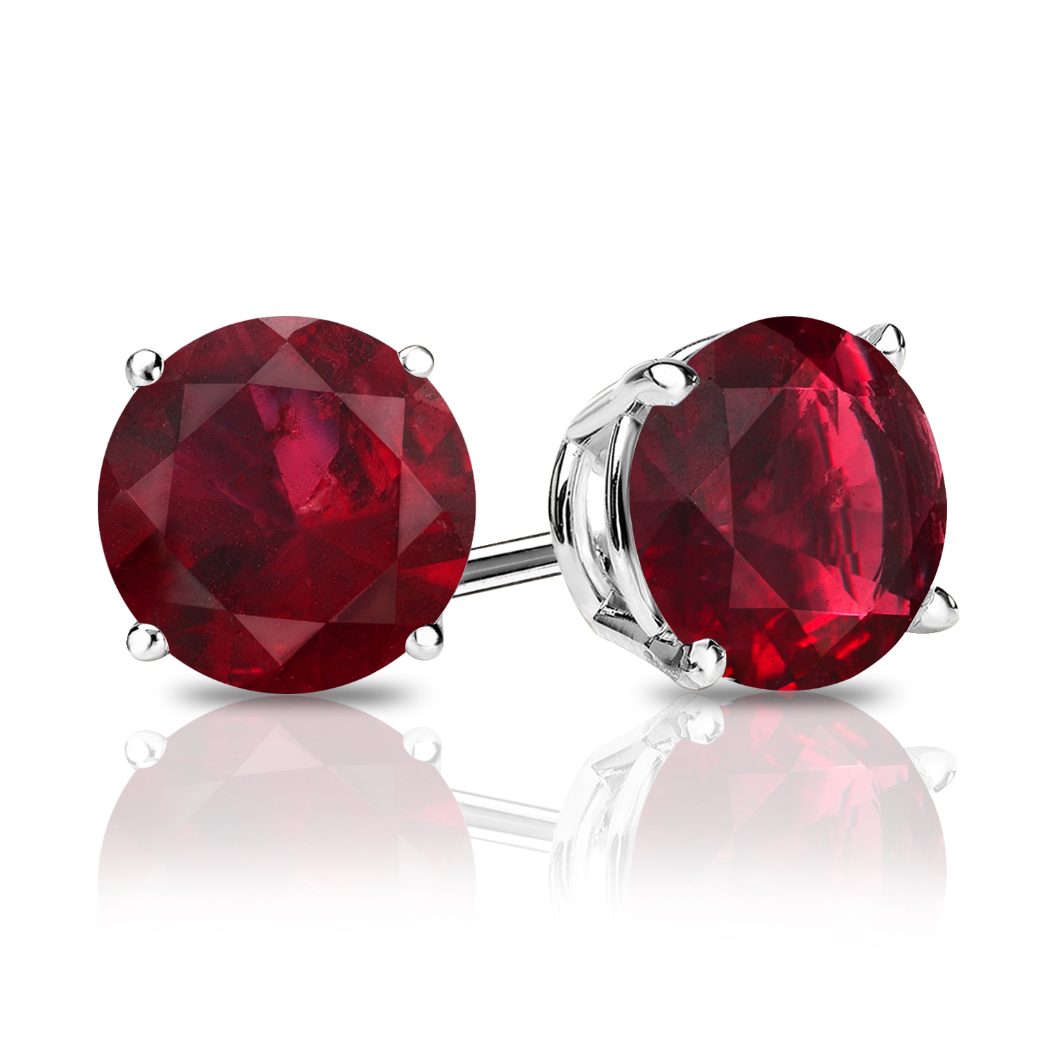 Certified 0.40 cttw Round Ruby Gemstone Stud Earrings in 14k White Gold 4-Prong Basket (Red, AAA)