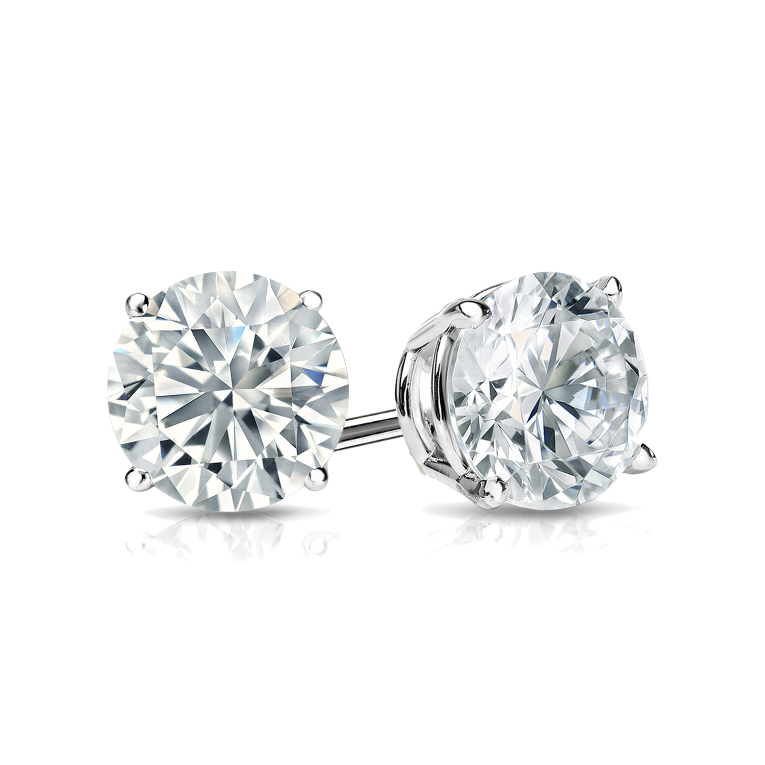 Certified 0.75 cttw Round Diamond Stud Earrings in 14k White Gold 4-Prong Basket (I-J, I1)