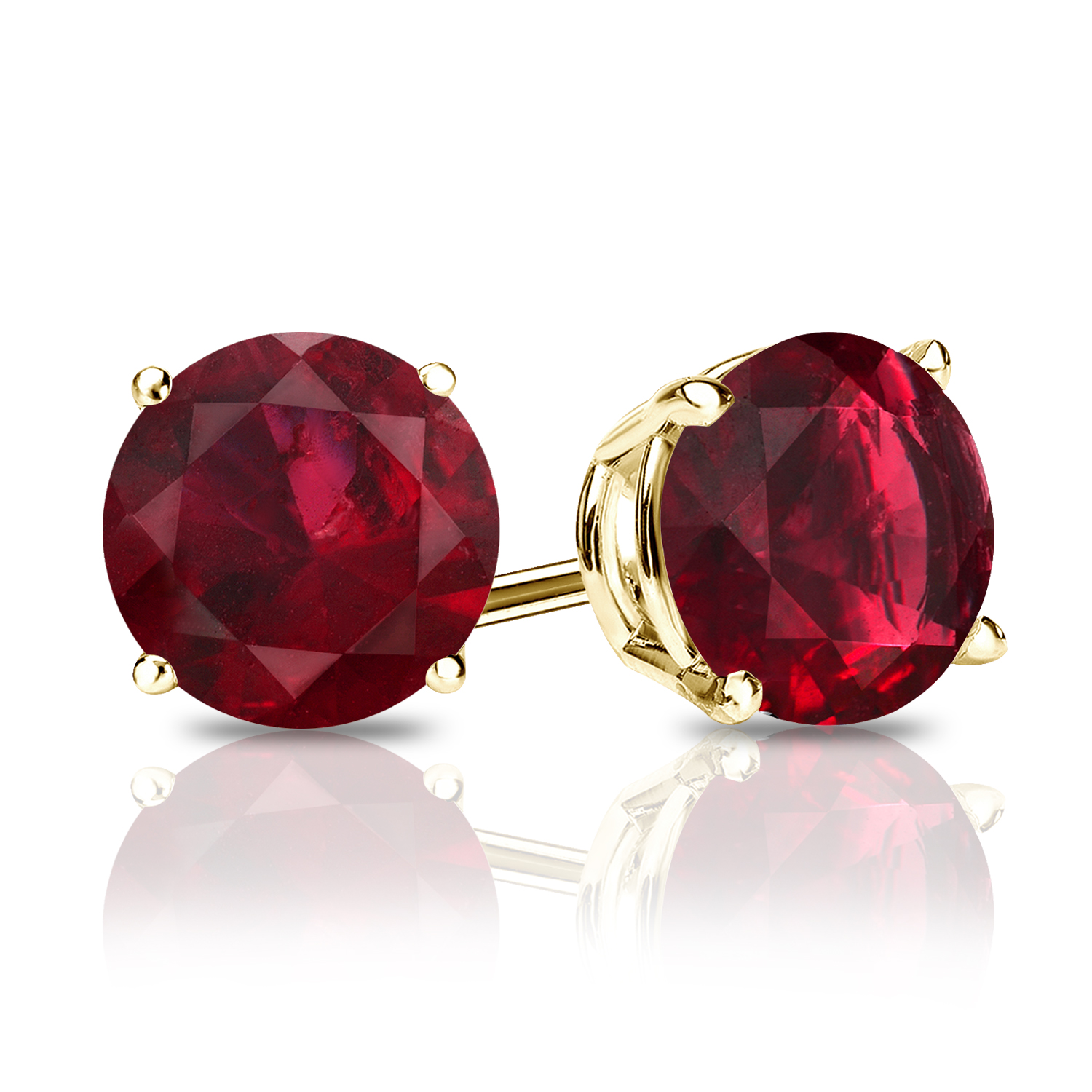 Certified 0.33 cttw Round Ruby Gemstone Stud Earrings in 14k Yellow Gold 4-Prong Basket (Red, AAA)