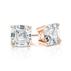 Certified 1.25 cttw Asscher Diamond Stud Earrings in 14k Rose Gold 4-Prong Basket (G-H, VS)