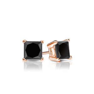 Certified 0.50 cttw Princess Black Diamond Stud Earrings in 14k Rose Gold 4-Prong Basket (AAA)